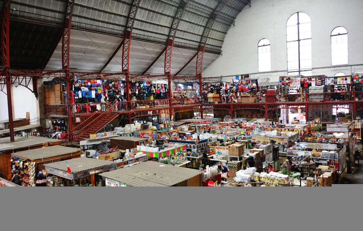 A busy, as far as shelf contents go, indoor shopping market