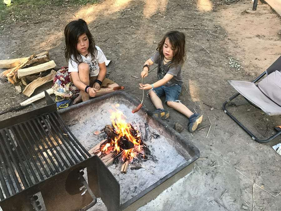 two boys roast hot dogs over a fire pit.