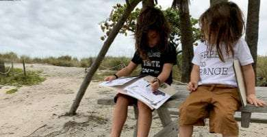 two young boys working on junior ranger badges in Florida