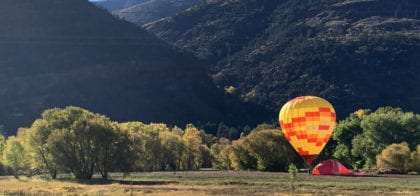 a hot air balloon about to take flight