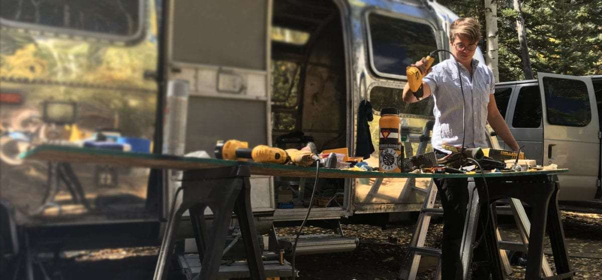 Ellen Prasse, one half of The Modern Caravan, working while renovating our Airstream