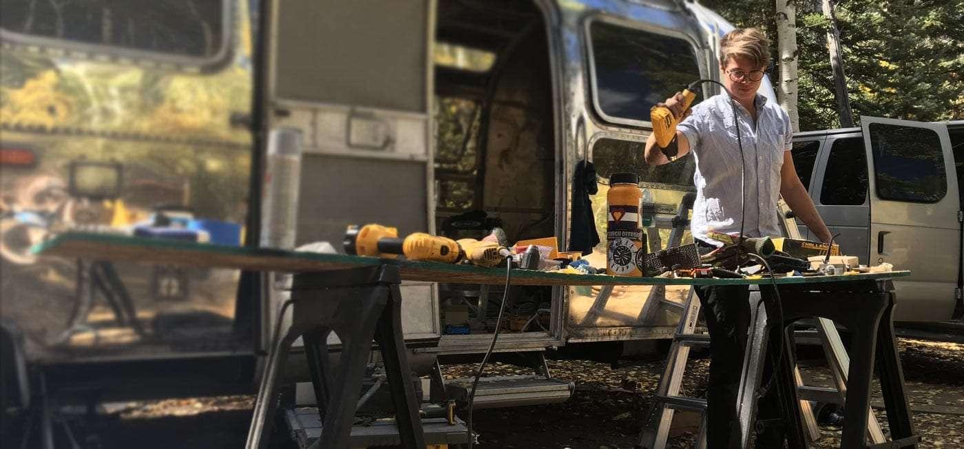 Ellen Prasse, one half of The Modern Caravan, working while renovating our Airstream