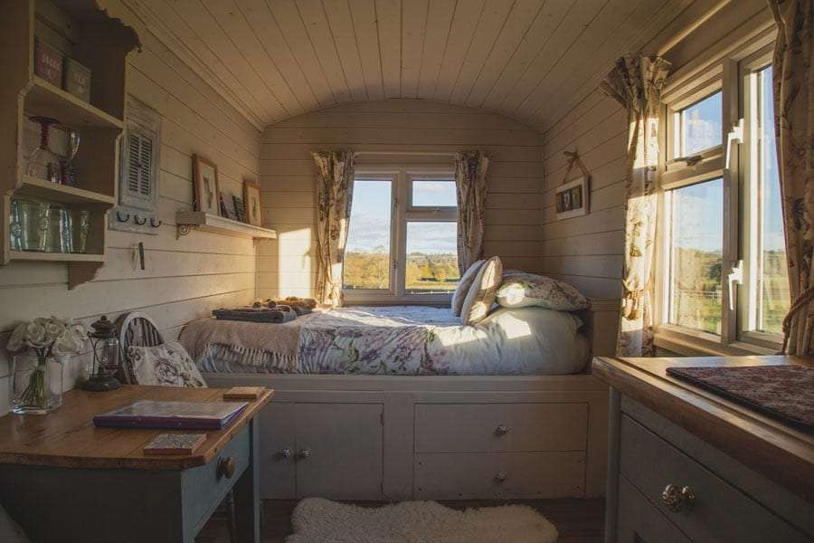 the inside of a tiny house on wheels