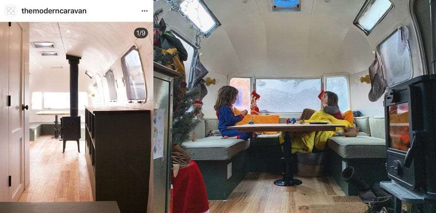 Left, The Modern Caravan's Instagram photo of where they placed the wood stove. Right, we think it works a little better not in the middle of the floor.