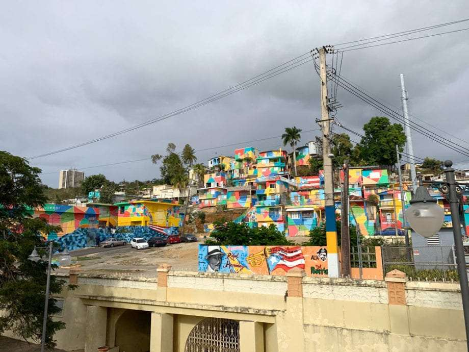 colorful homes line a hillside near Aguadilla, Puerto Rico.