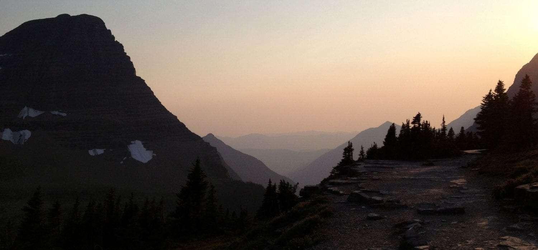 sunset over glacier national park