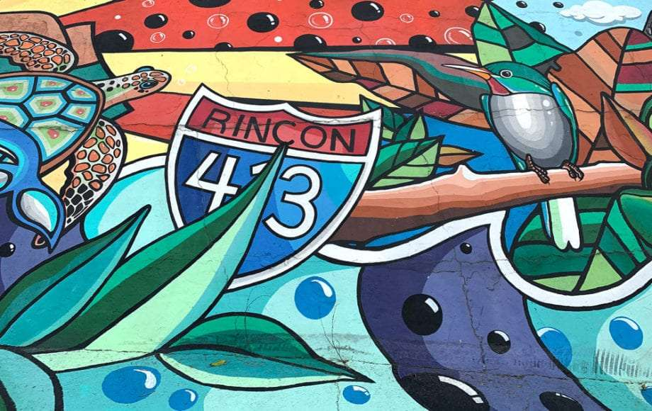 A mural celebrating the Road to Happiness, Puerto Rico's Highway 413, near Rincón.