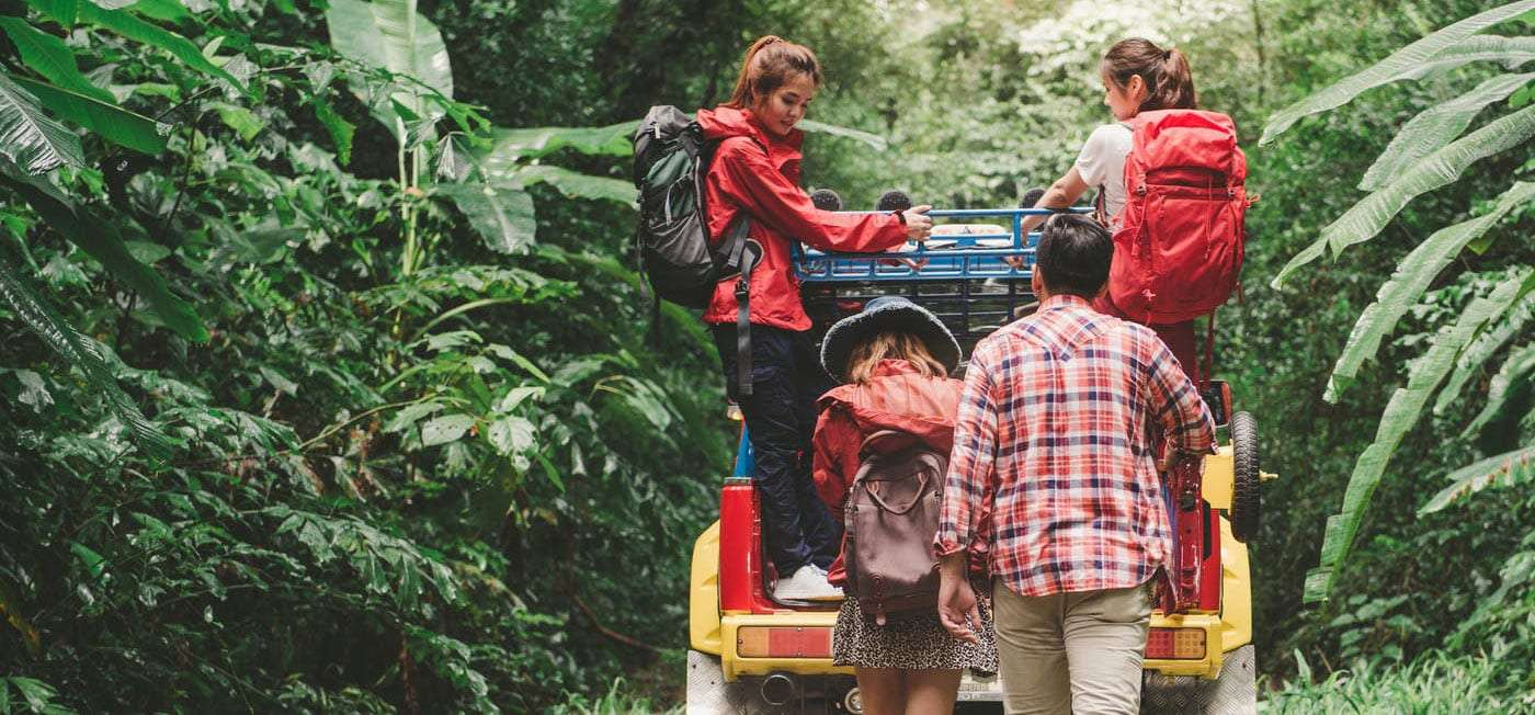 a family living out of their vehicle, traveling through central america