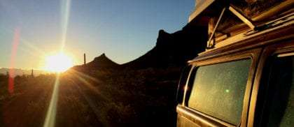 sunset, a VW Bus and the American Southwest