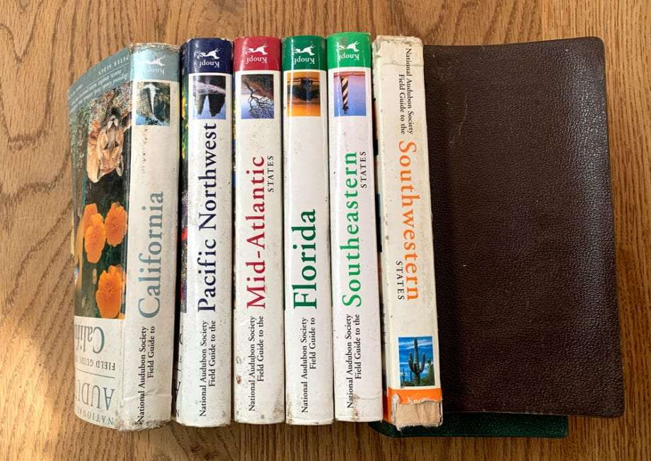 several of the National Audubon Society Field Guides, well used.