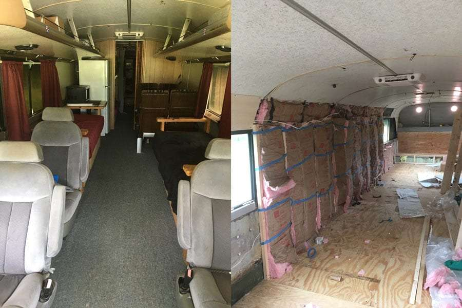Left: the original state of the bus when purchased. Right: gutted!