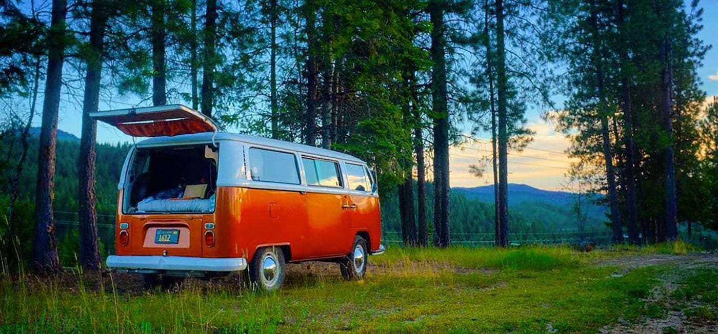 an immaculate vintage Volkswagen Bus parked in a forest