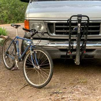 the bike rack installed on a van