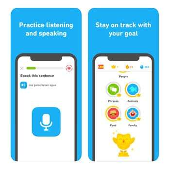 screenshots of the Duolingo app