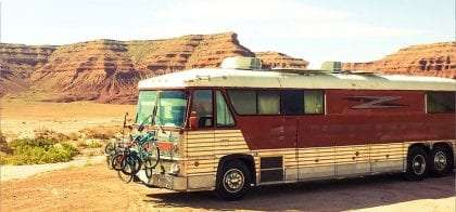 a converted 1970s bus that's now a home on the road