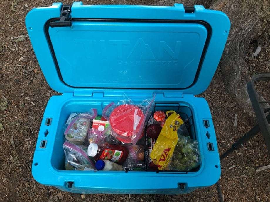 the Titan cooler open, showing the bounty it holds