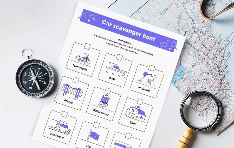 a printable scavenger hunt for roadtrips