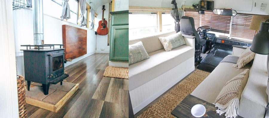 Chase and Mariajose's home, a converted school bus, aka a skoolie