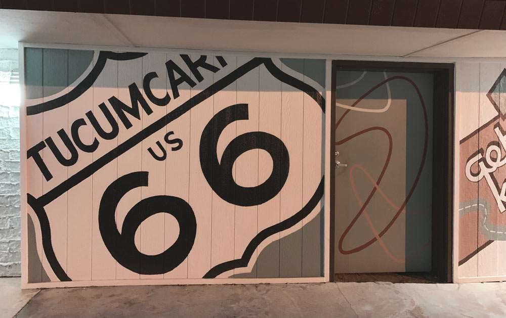 a US highway sign reads Tucumcari 66