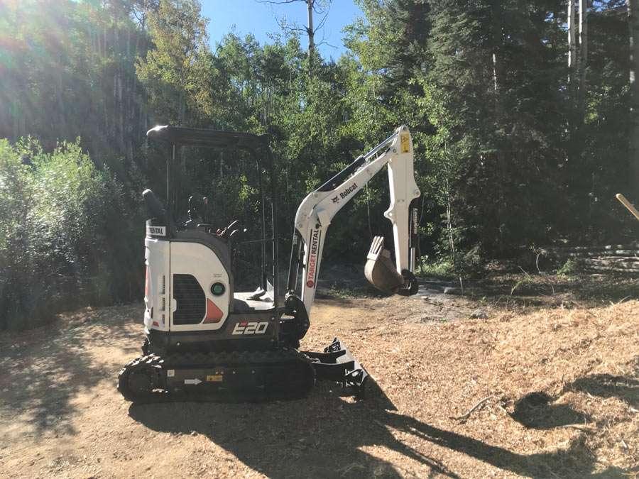 a Bobcat E20 excavator