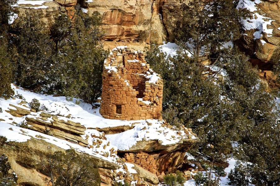 a stone and mortar structure built by ancient puebloans