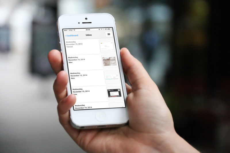 anytime mailbox's interface displayed on an iphone, showing a list of your mail that's waiting for you