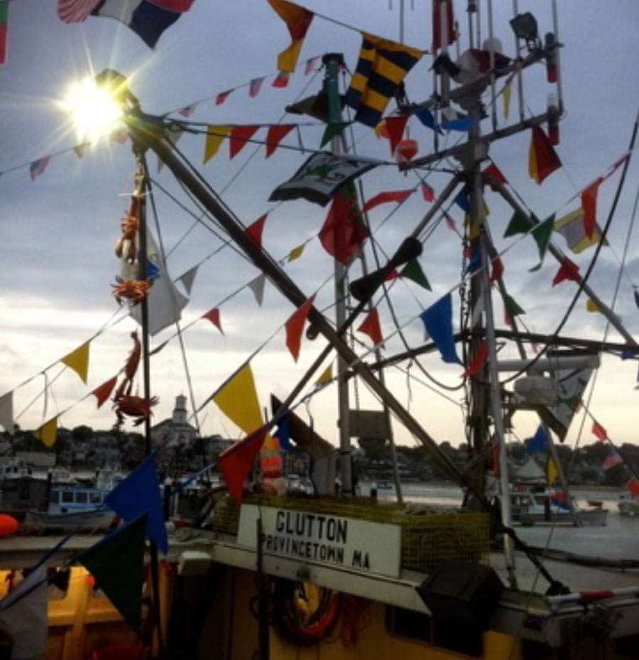 a host of flags strung on a ship near Provincetown, Massachusetts