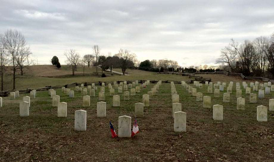 the many graves of confederate soldiers who died that day