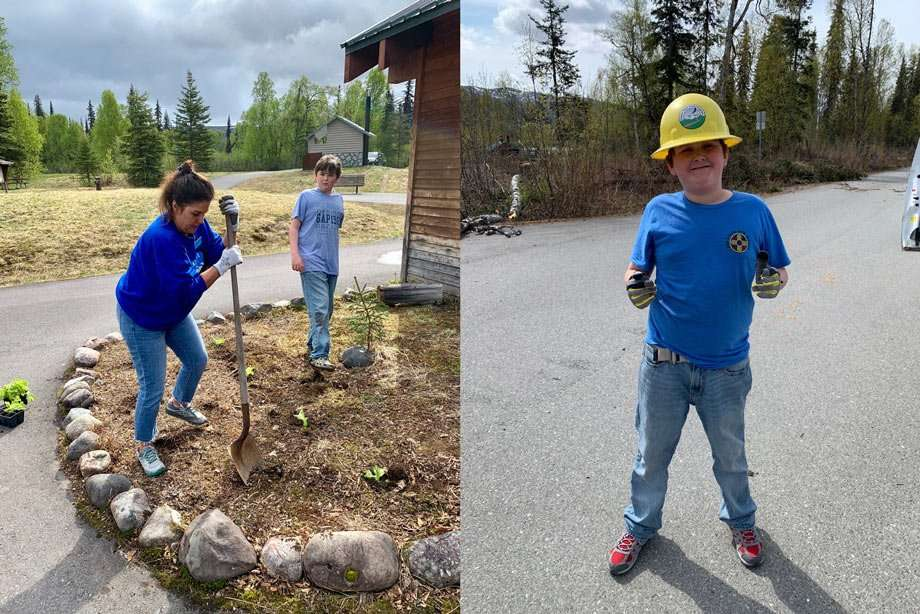 left: Mom and Luke working at some landscaping, right: Luke wearing a hardhat