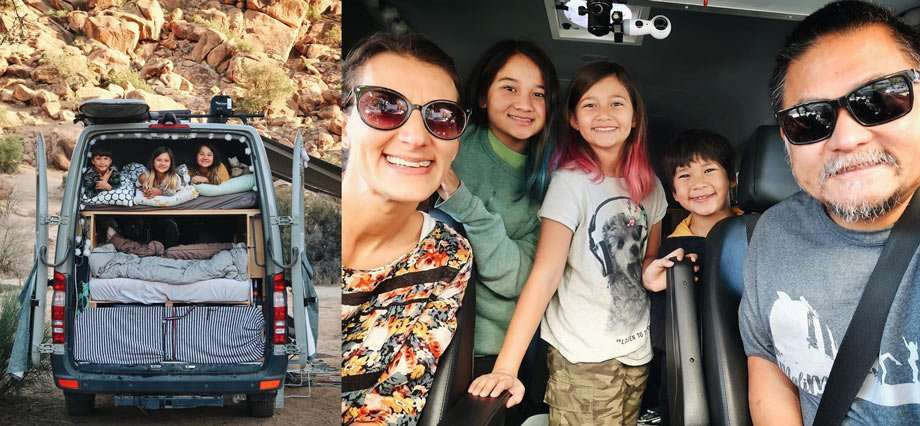 Left: Three children sleep on the top bunk of a van, as seen through the back door. Right: A family of five smiles in the cab of their van.