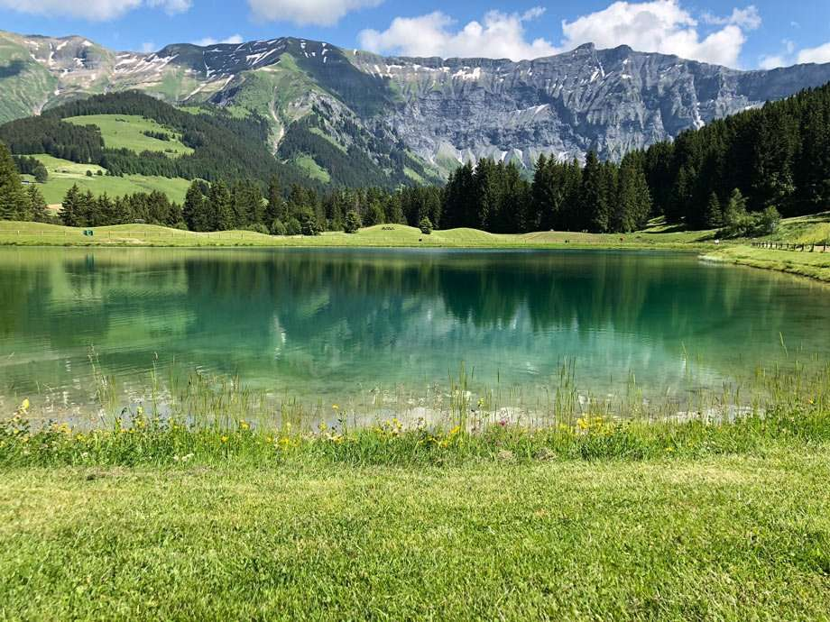 pristine mountain wilderness beauty reflects in a lake in the French Alps