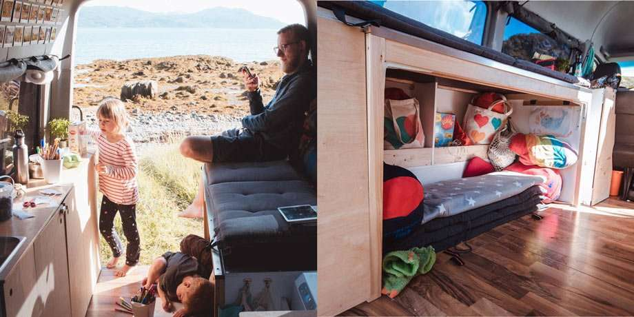 Left: a dad on his phone, sitting on a fold out bed that is currently in couch mode, while his daughter explores the kitchen side of the van. Right: a nook for the kiddos.