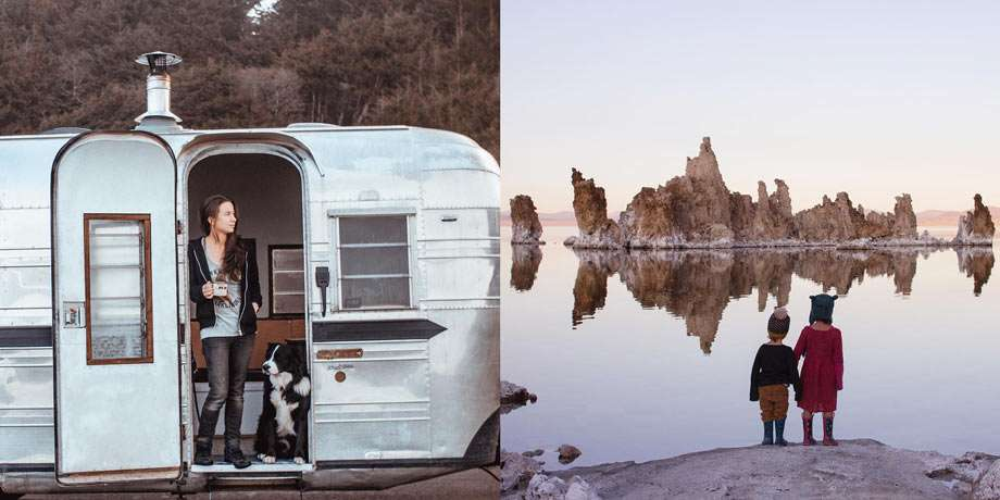 Left: Julia and Cody in the door of their travel trailer, she enjoying coffee. Right: two children admire salt formations east of Yosemite.
