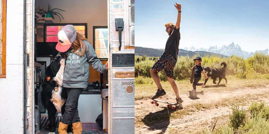 Left: a girl and her dog. Right: dad's crazy skateboard dirt road desert antics and son is happy to try and keep up.