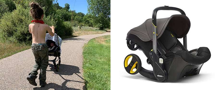 Left: a young boy pushes his baby brother in a stroller. Right: A product shot of the same stroller, which transforms into a carseat like optimus prime.