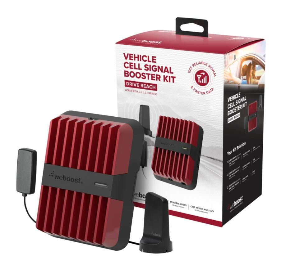 company product shot of a red and black series of compact plastic devices