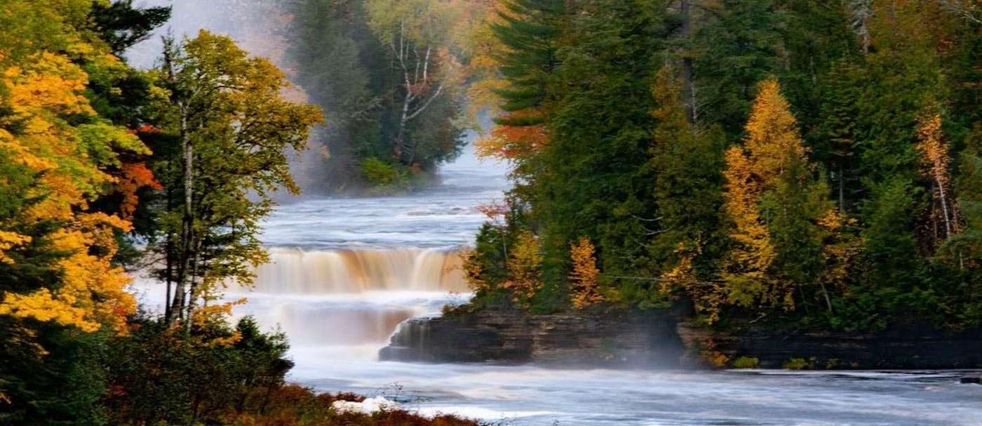 a river cruises through a Michigan forest