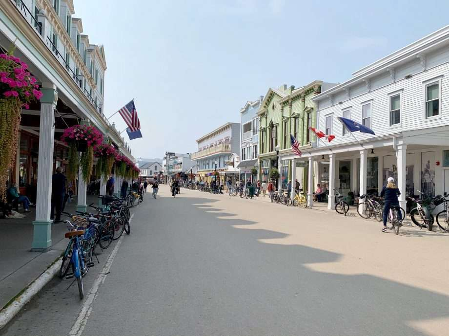 rows of businesses stand still in time on the car-free island in question