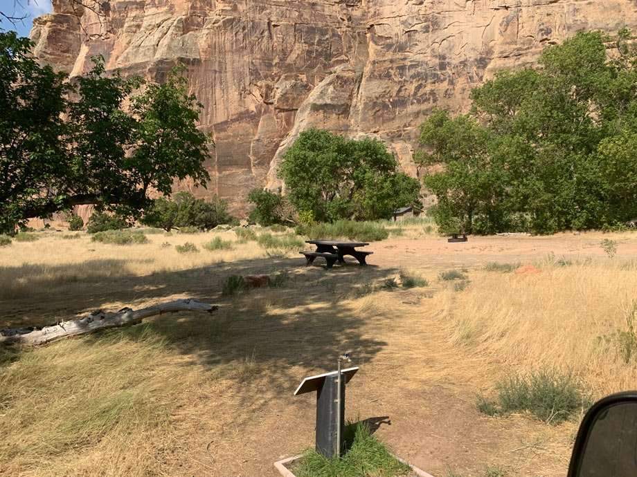a picnic table campsite