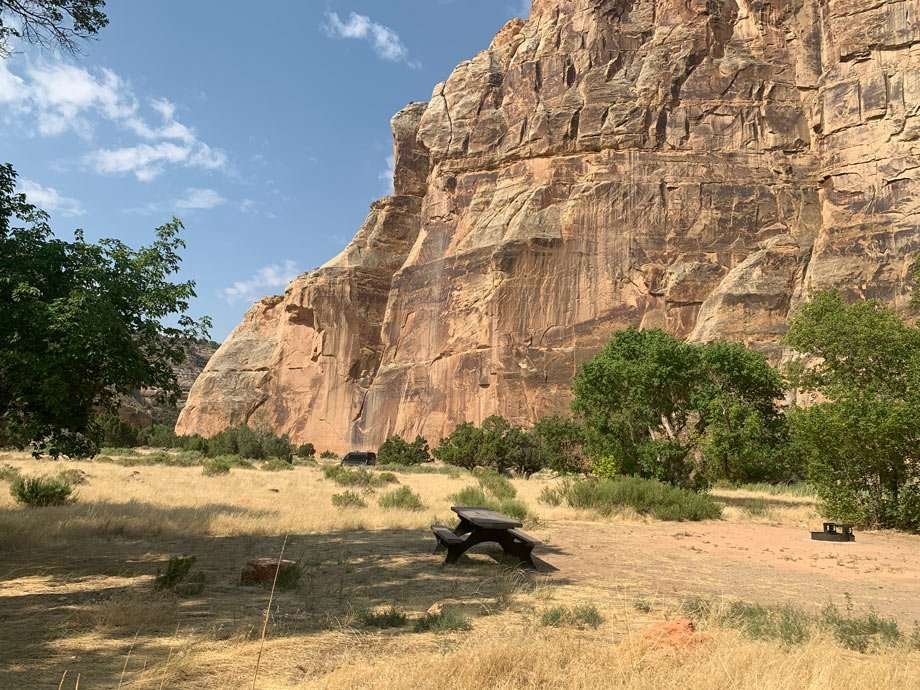 a campsite at Echo Park Campground in Dinosaur National Monument