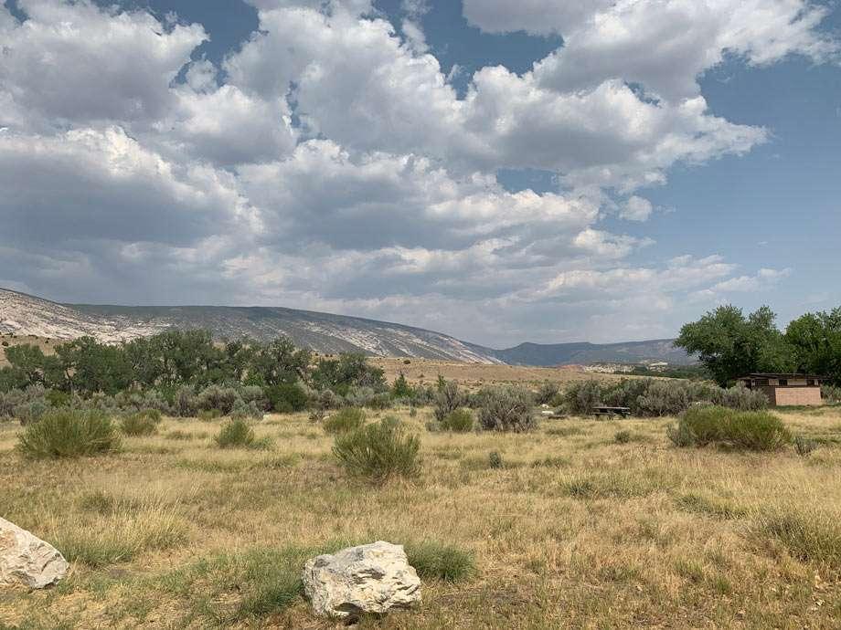 uninspiring campsites in the Utah side of Dinosaur National Monument