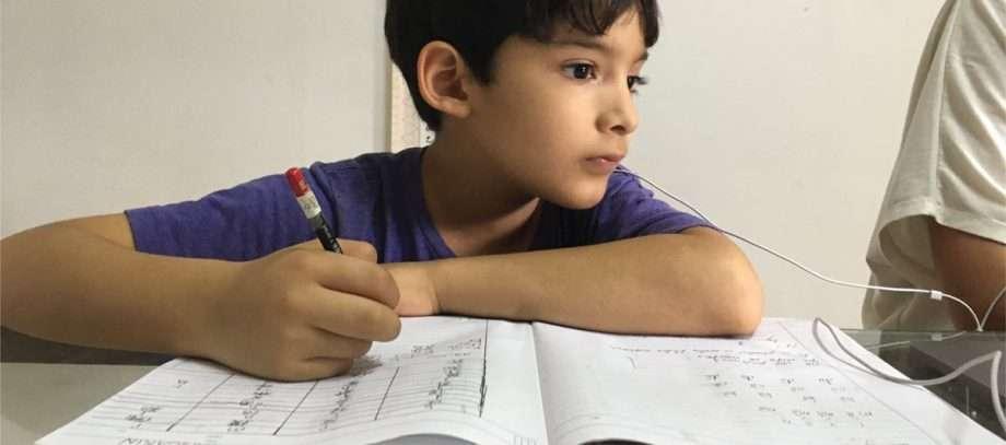 a boy studies math