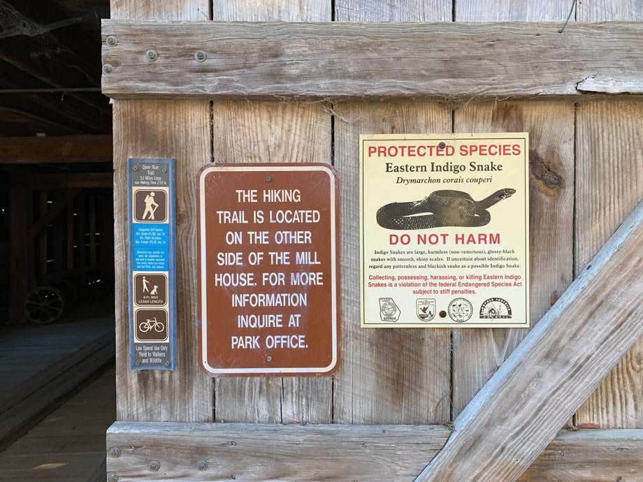 warnings about snakes at George L. Smith State Park in Georgia