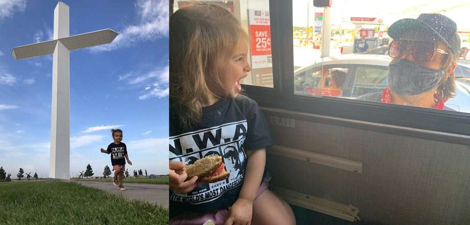 a young girl walks near a giant cross, and a second photo of her dad, in a mask, looking into the RV window at her