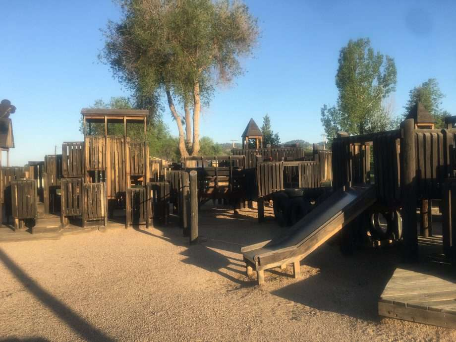 a wooden playground in Hot Springs, South Dakota