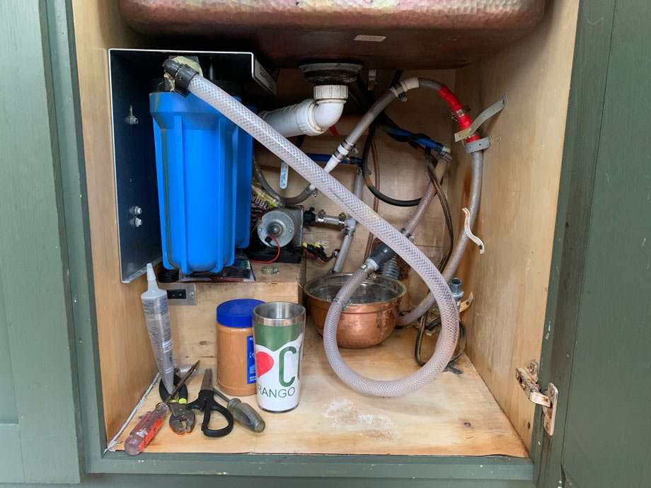 a complicated tangle of RV plumbing