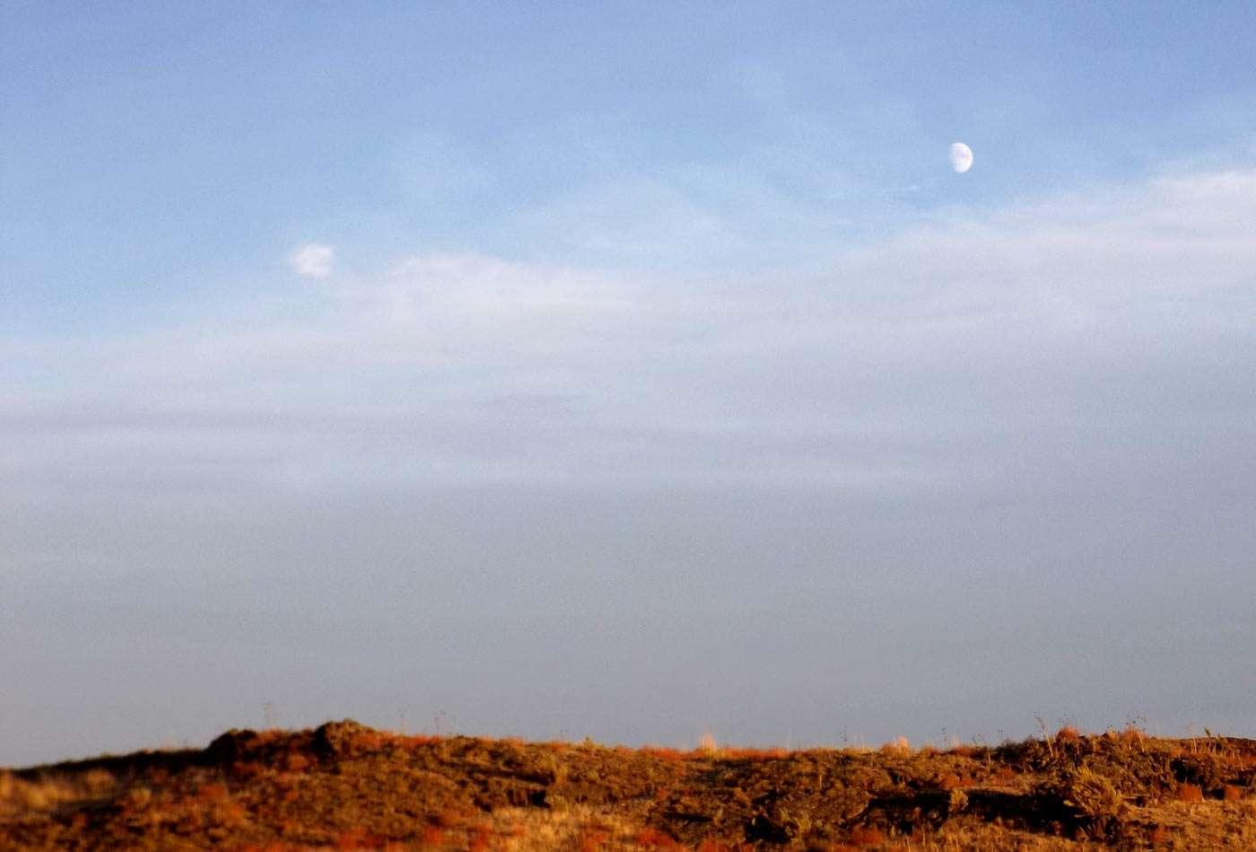 the moon high above Idaho