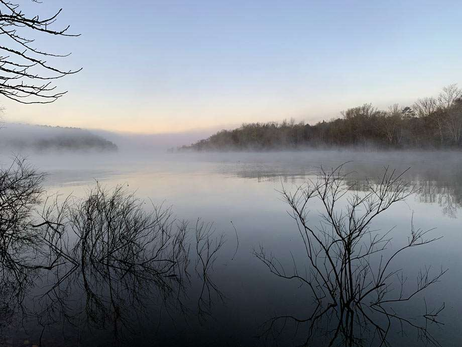 a foggy morning lake ouachita