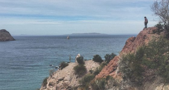 a teenager standing on a cliff overlooking the bay of agua verde