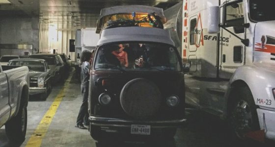a 1978 VW Bus, on a ferry from La Paz, BCS to Mazatlan, MX